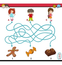 Task of path maze for children vector