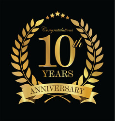 Anniversary golden laurel wreath 10 years 2 vector