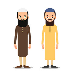 arab or muslim man stand in the traditional vector image
