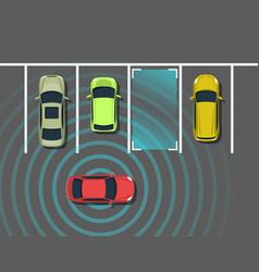 autonomous car parking top view vector image vector image