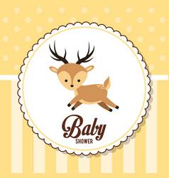Baby shower card invitation cute deer vector