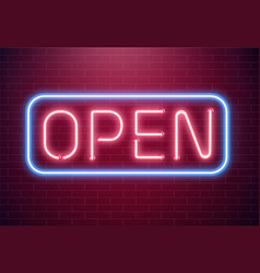 bar open light neon sign night store red glowing vector image