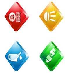 Car service glass transparent color icon set vector