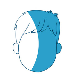 Cartoon head young man faceless silhouette vector