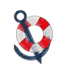 Drawing buoy anchor nautical travel maritime vector