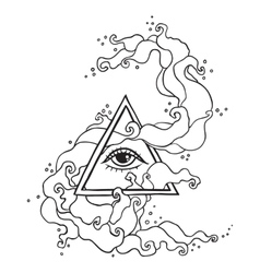 Eye in pyramid with mystic smoke vector