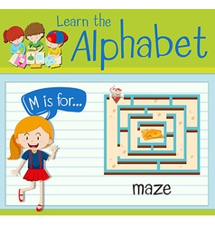 Flashcard alphabet M is for maze vector image vector image