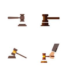 flat icon hammer set of legal crime court and vector image vector image
