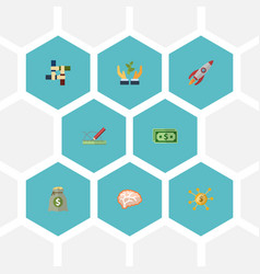 flat icons rocket income design and other vector image