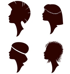 girl head silhouettes vector image