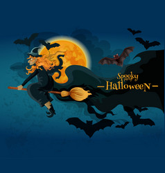 Halloween greeting card with witch and full moon vector