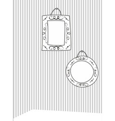 Hand drawn decorative frames on stripes wall vector