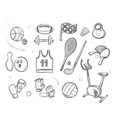 hand drawn sketch sports fitness equipment vector image vector image