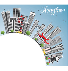 Hangzhou skyline with gray buildings blue sky and vector