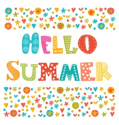 Hello summer card with decorative design elements vector image