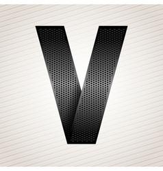 Letter metal ribbon - V vector image vector image