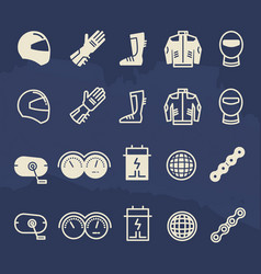 Line and outline auto parts and motorbike vector