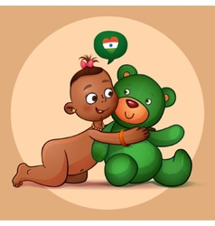 Little Indian girl hugging teddy bear green vector image vector image