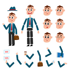 Man character creation set with different gestures vector