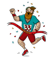 Man runner cross the finish line cartoon style vector