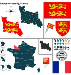 Map of lower normandy vector