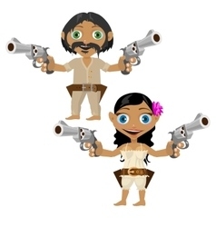 Mexican man and woman with guns character vector