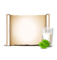 Milk in glass green leaves Paper scroll vector image vector image