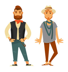 modern stylish men in fashionable clothes isolated vector image vector image