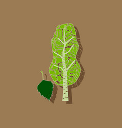 paper sticker on stylish background plant betula vector image vector image