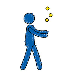Person juggling with balls vector