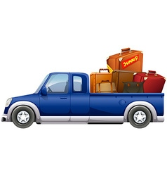 Pick up truck loaded with bags vector