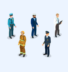 Pilot sailor doctor firefighter and policeman vector