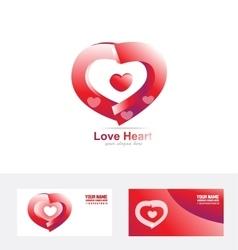 Red love heart logo 3d vector