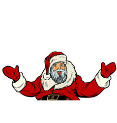 santa claus greeting gesture on white background vector image