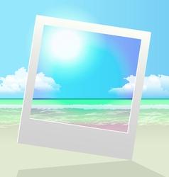 Seashore polaroid frame pic vector
