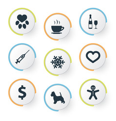 Set of simple colony icons vector