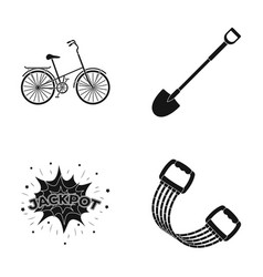 Sports fitness and other web icon in black style vector