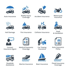 Vehicle insurance - blue series vector