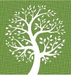 White tree icon on dark green canvas texture vector