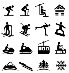 Winter sports and ski icons vector image vector image