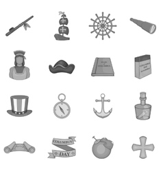 Columbus day icons set black monochrome style vector