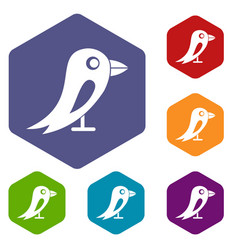 Social network bird icons set vector