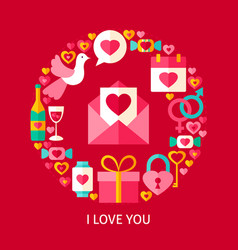 I love you postcard vector