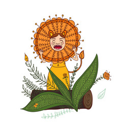 girl roar in lion costume isolated vector image