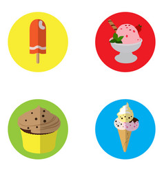 set of ice creams and cupcakes vector image