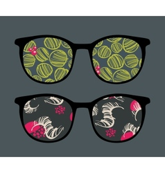Retro sunglasses with interesting reflection vector
