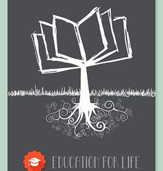 Vintage book tree vector