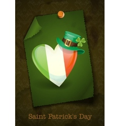 Irish flag in the shape of a heart vector