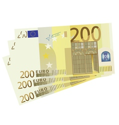 Drawing of a 3x 200 euro bills vector