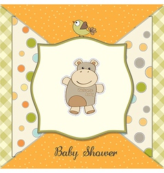 Childish baby shower card with hippo toy vector